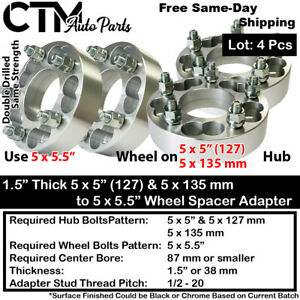 """4x 1.5"""" THICK 5x135 & 5x5(5x127) TO 5x5.5 WHEEL ADAPTER FIT CHEVY JEEP & MORE"""