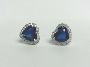 2.50Ct Blue Sapphire and Diamond Heart Stud Earring in 9K White Gold Finish