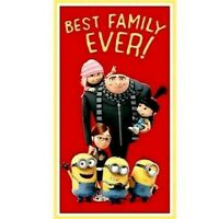 "MINIONS  DESPICABLE ME  BEST FAMILY EVER FABRIC QUILTING TREASURES 23""x44"" PANEL"