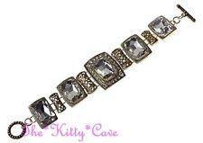 Deco Nouveau Regency Victorian Vintage Luk Gold Rec Lead Crystal Toggle Bracelet