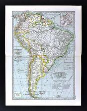 1898 Century Map - South America - Brazil Argentina Peru Chile Colombia Amazon