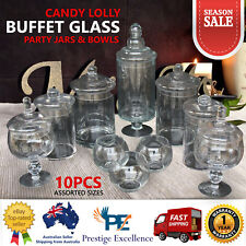 NEW 10 SET STARTER Candy Lolly Buffet Glass Assort Size Wedding Party Jars Bowls