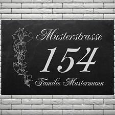 Lasergravur Schiefer Hausnummer-005 Name & Strassenname @IHRE DATEN@ 50 x 30 cm