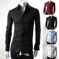 Mens Slim Fit Shirt Smart Casual Formal Solid Plain Colour SIZE S M L XL PJ New