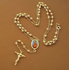 Unisex 18k Gold Plated Cross with Holy Mary Pendant Rosary Silver Necklace N129