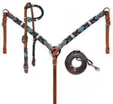 Showman TURQUOISE/BURGUNDY Beaded Aztec Headstall and Breast Collar Set W/ Reins