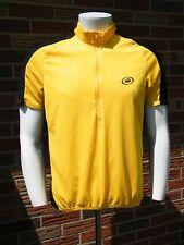 Performance Bike Men's Cycling Yellow/Black Pocket Shirt Short Slv Half Zip Sz L