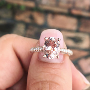 2.50 Ct Oval Cut Morganite Solitaire Engagement Ring Solid 14K Rose Gold Finish
