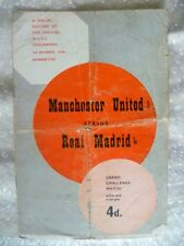 1959 Programme + TOKEN - MANCHESTER UNITED v REAL MADRID, 1st Oct (ORG*)