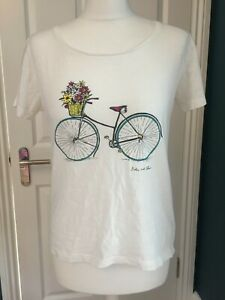 dickins&jones size small white bicycle print t shirt