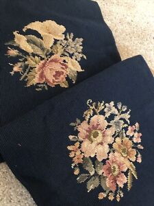 2 Vintage Finished Needlepoint for Pillow Chair Cover Dark Blue Pink Gold Floral