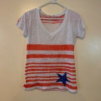 Whimsy Rose Short Sleeve V-Neck Shirt Red White blue patriotic 4th Of July M