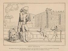 C1506 Allegoria Francese - Addio Bastiglia - 1890 xilografia d'epoca
