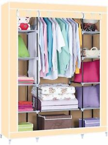 TRIPLE CANVAS WARDROBE CLOTHES RACK SHELVES HANGING RAIL STORAGE CUPBOARD-BAIGE