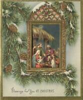 VINTAGE CHRISTMAS GREEN PINE CONES SNOW EMBOSSED WINDOW NATIVITY GREETING CARD