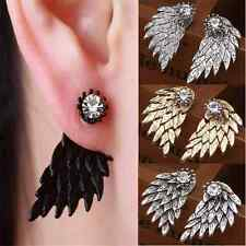 Gothic Fashion Women's Angel Wings Rhinestone Crystal Ear Stud Earrings Jewelry