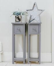 Pair of Bedside Tables With Drawer Grey Two Hallway Slim Living Room Tables