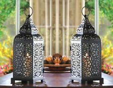 2 Tower Candle Lantern Matte Black Iron w/ Intricate Cutouts Moroccan Style