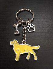 Silver Tone Yellow Labrador/Golden Retriever Dog Keyring, Paw/Bone, Great Gift