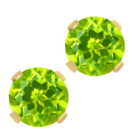 1.00 Ct Round Peridot 14K Yellow Gold Gemstone Birthstone Stud Earrings 5mm