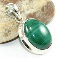 Solid 925 Sterling Silver Natural Malachite Gems Pendant Jewelry 1.25""
