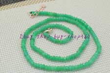 """Natural 2x4mm Faceted Green Emerald Abacus Gemstone Necklace 18"""" 925 Silver"""