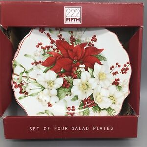 x4 222 Fifth WINTER HARMONY Salad Plate Set Christmas Poinsettia Red White Berry