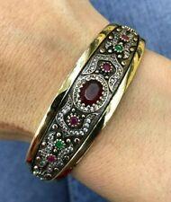 925 Sterling Silver Handmade Gemstone Turkish Ruby Bangle Bracelet Cuff