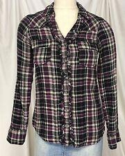 DKNY Jeans Women's Shirt Top Blouse Size Small Plaid Purple Black