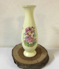 Vintage Lefton Porcelain Vase Girl in Easter Hat, Holding Bunny, Tulip Field Euc