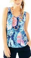 Lilly Pulitzer Gigi Tank Top XS Small Blue Sailboat Hey Bay Bay Shirt Neon