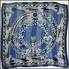 RDC9030 Authentic Cartier Blue Panther Silk Chiffon Stripe Scarf