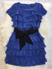 H&M Ruffle Dress Size 4 Sash Belt Exposed Zipper Purple Blue Periwinkle Layers