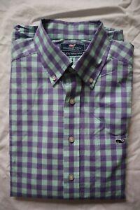 Lavender & Mint Check VINEYARD VINES Slim Fit Tucker Buttoned LS Shirt Medium