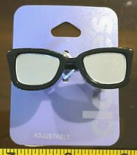 Claires Claire's Adjustable Ring Black Glasses Double Finger Jewellery RRP £5