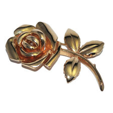 Brooch Gold Plated 18 Gold Pink Flower Jewel