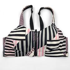 Victoria Secret Sport Bra Front Clasp Zip 36C Pink Gray Black Underwire