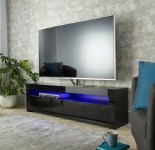 """Modern Matt Gloss Black 155cm TV Stand Cabinet LED Lights for 50"""" 55"""" 65"""" TV's"""