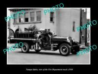 OLD POSTCARD SIZE PHOTO OF NAMPA IDAHO THE FIRE DEPARTMENT TRUCK c1930