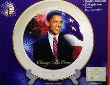 New Democratic President Obama 8 in Plate American Historic Society COA & stand
