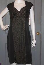 NWT womens LONDON TIMES black gold dot SHEATH dress 12 sweetheart neck NEW