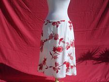 NWT Escada Silk Viscose Ivory White Red Floral Women's Skirt Sz 44 Germany $1100