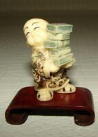 Antique Japanese bone  netsuke Chinese Boy Offers U a Frog