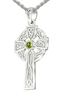 1.5in Men's Sterling Silver Celtic Knot Cross August Birthstone Pendant Necklace