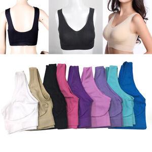 Women Seamless Sports Bra Fitness Push Up Wireless Bra Yoga Tank Top Stretch SZ