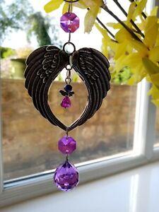 Suncatcher Crystal Purple Violet Angel Wings Heart Hanging  Handmade Window