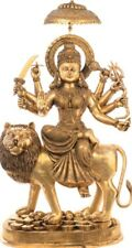 "Master Fine Statue Durga on Lion Parasol OM 62.5""Large Brass Jai God Hindu 167KG"