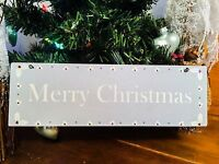 Merry Christmas Wooden Sign Plaque Shabby Chic Cottage Wall Door Tree Decoration