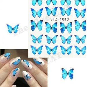 Nail Art Stickers Water Decals Transfer , Blue Butterflies Nail Stickers