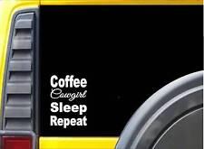 Coffee Cowgirl Sleep K880 8 inch Sticker Christian cowboy decal